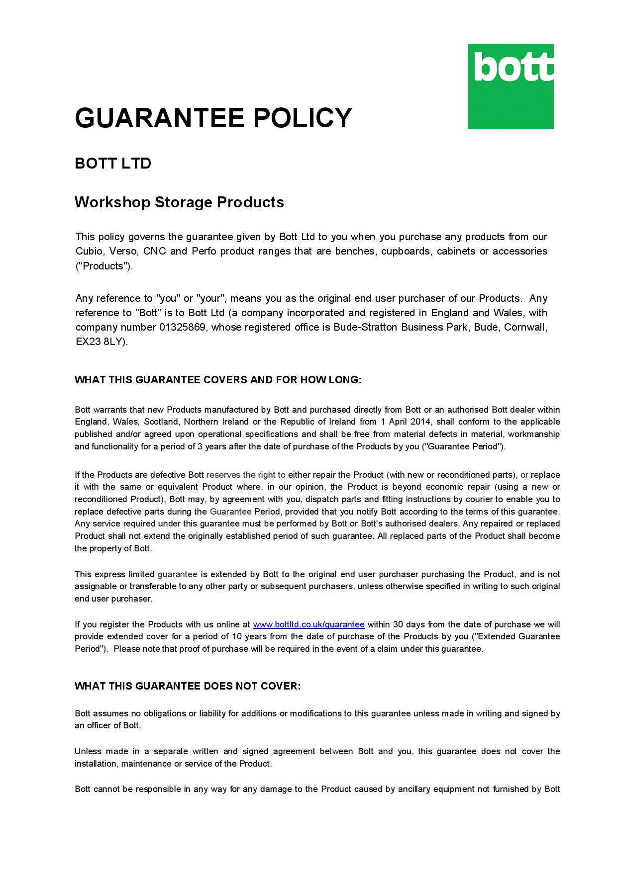Bott Ltd Guarantee Policy